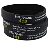 Assorted Popular Scripture Verses Printed On Silicone Wristbands For Church Giveaways And Religious Camps (Packs of 10 Silicone Bands) (Philippians 4:13)