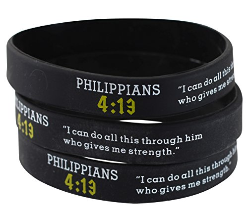 Assorted Popular Scripture Verses Printed On Silicone Wristbands For Church Giveaways And Religious Camps (Packs of 10 Silicone Bands) (Philippians 4:13) by Forge