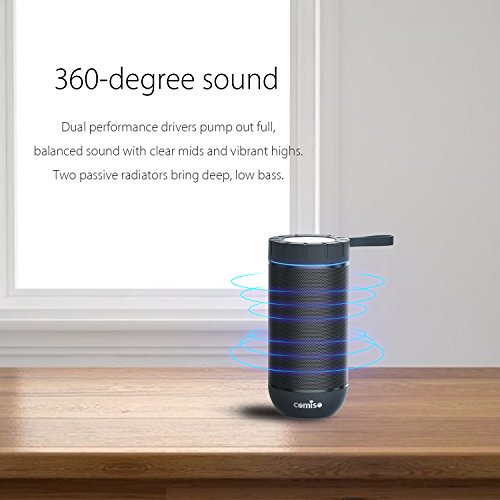 COMISO Waterproof Bluetooth Speaker with 24 Hours Playtime,360 Degree Superior Sound with Dual 6W Drivers Dual Passive Radiators wireless Portable Speaker for Outdoor – Grey