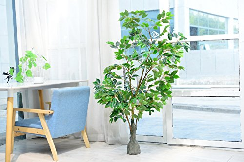 Artificial Ficus Tree with Large Silk Green Leaves Indoor Ourdoor Plant, 5.30-Feet Green, With No Pot(818#)