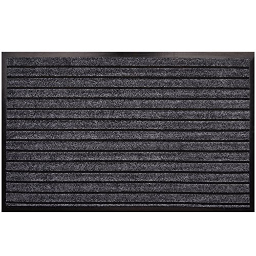 "Goodxin XX1-3 Indoor Outdoor Mats Rubber Entrance Doormat Dirt Debris Mud Trapper Waterproof Out Door Mat Low Profile Washable Carpet (31.5""X20"", Light Grey) by Goodxin"