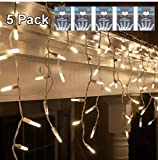 indoor icicle lights led - LED Icicle Lights Warm Lights - 5 Pack Christmas Outdoor -Indoor 150 Clear Mini Sting Lights On White Wire with 27 Drops 9.5 Long 8.5 Lighted Length