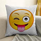 Emoji Bedding At Target Emoji Microfiber Cartoon Like Technologic Smiley Flirty Sarcastic Happy Face with Tongue Modern Print Sofa Cushion Cover Bedroom car Decoration W24 x L24 Inch Yellow