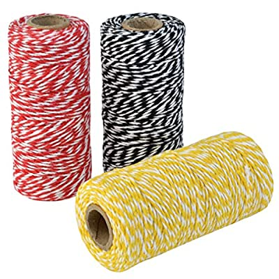 Topbuti 984 Feet 2mm Cotton Bakers Twine, Christmas Wrapping Twine Gift Packing String Rope Cord for DIY Crafts, Valentine's Day Holiday (Red and White, Black and White, Yellow and White) : Office Products