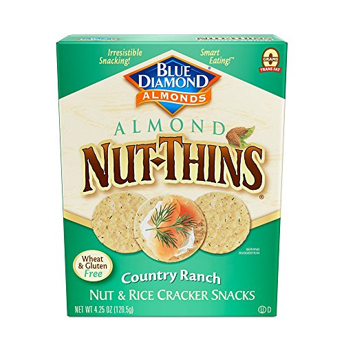 Blue Diamond Almond Nut Thins Cracker Crisps, Country Ranch, 4.25 Ounce