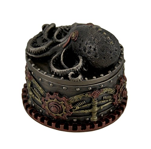 Zeckos Resin Decorative Boxes Decorative Bronze Finish Steampunk Octopus Trinket Box 4 X 3.5 X 4 Inches 4