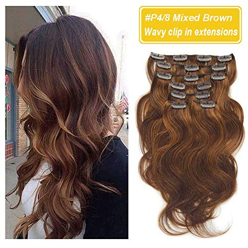 """Beauty : Clip in Wavy Hair Extensions Human Hair, Re4U Body Wave Remy Clip in Hair Extensions Chocolate Brown Mixed Light Chestnut Brown 18"""" 7Pcs/90 grams"""