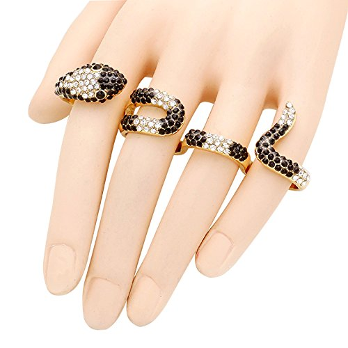 [Rosemarie Collections Women's Gold 4-Finger Black and White Pave Crystal Snake Ring] (Best Ideas For Halloween Costume 2016)