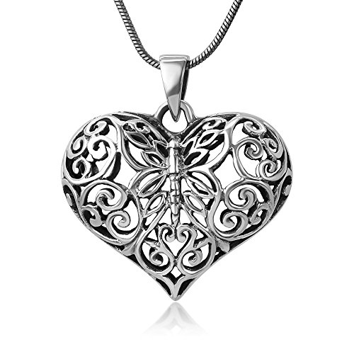 (Chuvora 925 Oxidized Sterling Silver Open Filigree Butterfly Heart Shaped 3D Puffed Pendant Necklace, 18