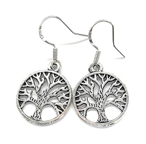 Silver Tree of Life Circle Dangle Earrings French Hook Earwires
