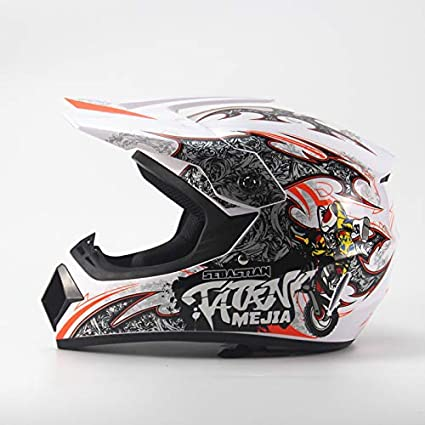 Ocamo Full Protection Off Road Casco Motorcycle Moto Dirt Bike Motocross Racing Helmet White 4 S