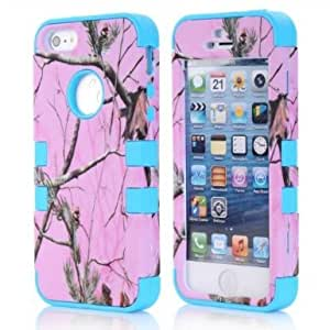 SHHR-HX5S51N Luxury 3 in 1 Hybrid Pink Pine Tree Pattern Cover Case For iPhone 5/5S-Light Blue Silicone