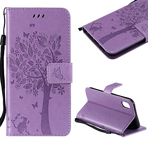 Cistor Case for iPhone XR,Creative Light Purple Embossed Tree Cat Butterfly Strap Wallet Case for iPhone XR,Shockproof PU Leather Stand Flip Case with Magnetic Clasp Card Slot + 1x Free Ring Holder