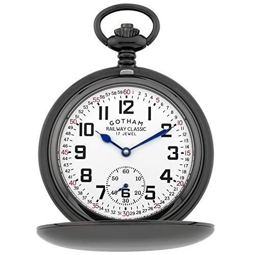 Gotham Men's Gun-Tone Railroad Dial Double Hunter 17 Jewel Mechanical Pocket Watch # GWC18806B