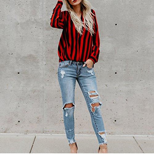 Manches Les De Soie Chemise Casual Blouse Rayure Rouge Dame En La Taille Femmes La Mode Top Soie De En De Cou Pour V Plus red Lache Mousseline Mousseline Longues Sexy H7PZxwFqq