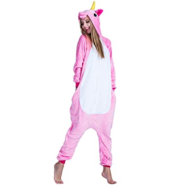 EraSpooky Unisex Adult Flannel Animal Pajamas Pink Unicorn Cosplay Kigurumi(Pink, Small)