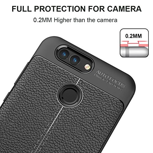 Huawei nova 2 Hülle, MSVII® Anti-Shock Weich TPU Silikon Hülle Schutzhülle Case Und Displayschutzfolie für Huawei nova 2 - Schwarz JY90061