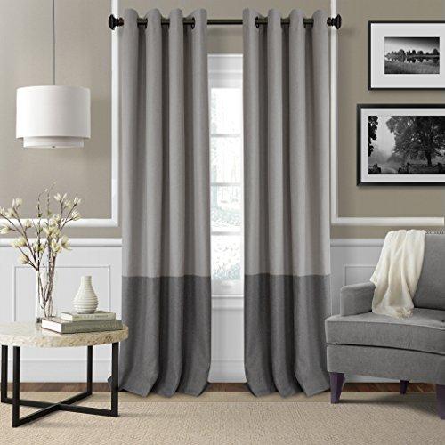 Elrene Home Fashions Braiden Room Darkening Window Panel 52-Inch by 95-Inch, Gray, Set of 4 For Sale