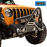 EAG Stubby Front Bumper with Stinger Hoop and Fog Light Hole for 18-19 Jeep Wrangler JL