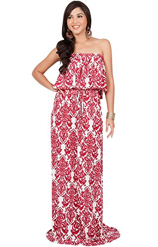 KOH KOH Plus Size Women Long Strapless Sexy Tube Cute Print Summer Boho Printed Beach Semi Formal Casual Sundress Sundresses Gown Gowns Maxi Dress Dresses, White and Red 2X 18-20 ()