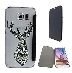 c0188 - Aztec Deer Head Design Samsung Galaxy S6 Edge Fashion Trend Funky Smart Clear Plastic & TPU Flip Case Full Cover Purse Pouch Defender Book Case