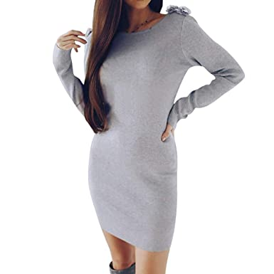 Amazon.com  KaiCran Fashion Womens Sweater Long Sleeve Flowers Backless  Slim Dress S-XL  Clothing 05049ab496