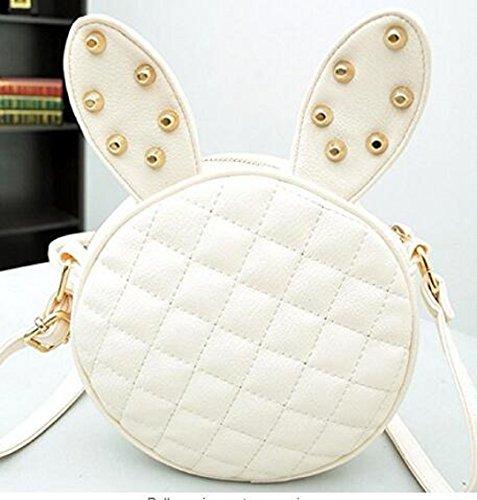 Wendin Women Girl Rabbit Ears Rivets Pu Leather Handbag Shoulder Messenger Bag (Ivory White) (Cute And Creative Costumes)