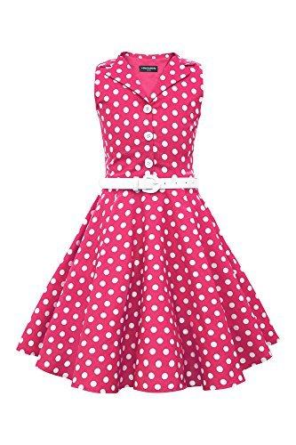 BlackButterfly Kids 'Holly' Vintage Polka Dot 50's Girls Dress (Pink, 5-6 YRS) ()