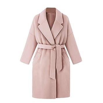 Abrigo de lana para mujer, cálido, para invierno, con cinturón, de manga