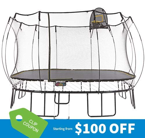 Springfree Trampoline - 13ft Jumbo Square with Basketball Hoop,...