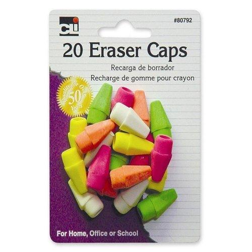 Charles Leonard Inc. 80792 Eraser Caps Assorted Neon Colors 20 Count Charles Leonard Wedge Shaped Eraser