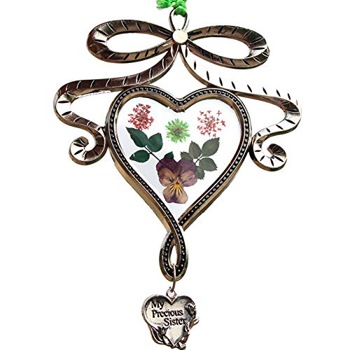 - My Precious Sister New Bow knot Heart Suncatchers Glass Sister Wind Chime with Pressed Flower Hearts Embedded in Glass with Metal Trim Sister Heart Charm Gifts for Sister Sister for Birthdays Christma
