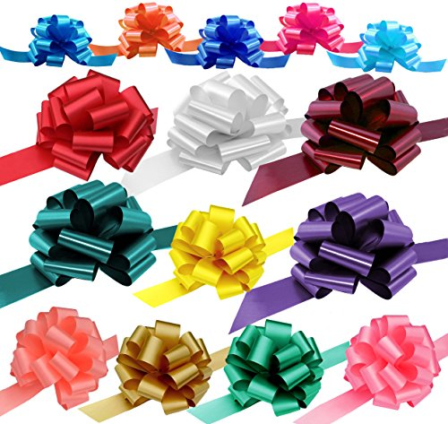 Assorted Gift Pull Bows for Easter, Christmas, Birthdays - Various Sizes, Set of 15, Red, Blue, White, Green, Valentines Day, Variety Pack, Mothers Day