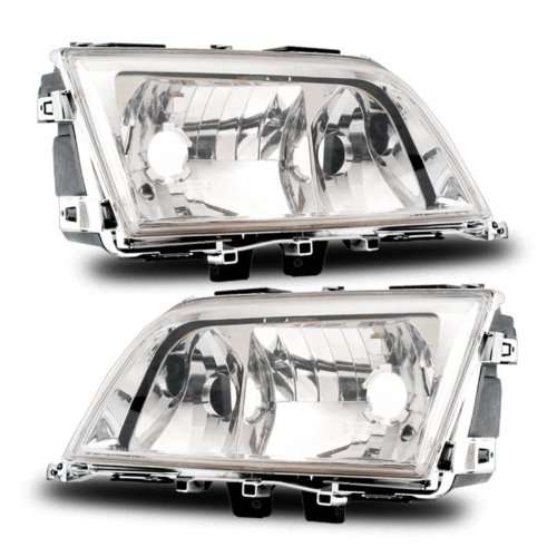 SPPC Crystal Headlights Assembly Set for Mercedes-Benz C Class W202 - (Pair) Includes Driver Left and Passenger Right Side Replacement (Class Crystal Headlights)