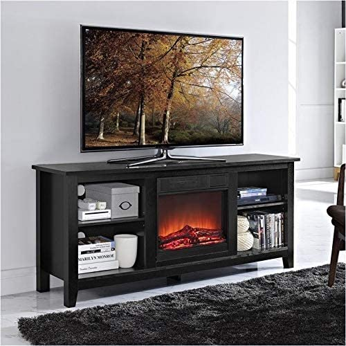Pemberly Row 58″ Minimal Farmhouse Electric Fireplace TV Stand Console Rustic Wood Entertainment Center