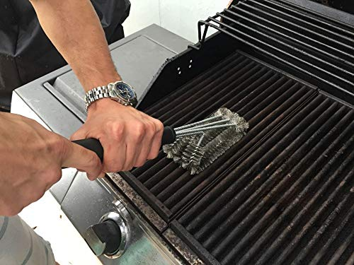 Moonnight Store 18'' Rugged Grill Cleaning Brush BBQ Tool Grill Brush 3 Stainless Steel Brushes in 1 Provides Effortless Cleanin BBQ Accessories