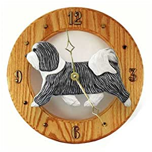 Grey And White Havanese Wall Clock In Light