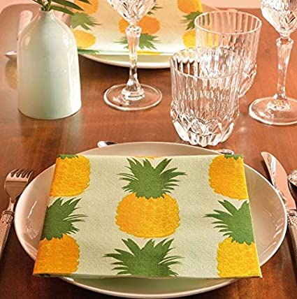 Dinner Napkins for Luau Party Napkins Paper Linen Napkins with Feel of Cloth Napkins Decorative Hawaiian Party Decorations 8 x 8 Pack of 20