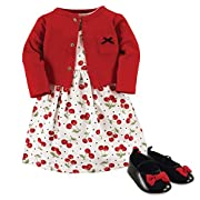 Hudson Baby Baby Girls' 3 Piece Dress, Cardigan, Shoe Set, Cherries, 0-3 Months