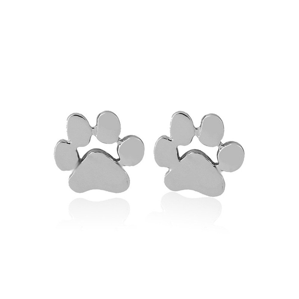 Nikgic Dog Claws Paws Sterling Silvery Earrings Jewelry Earrings Stud Clip for Women and Girls