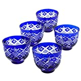 Set of 5 Edo Kiriko Japanese Blue Glass Iced Tea Cups Set, Design Cut Tea Glass For Special Guests [Japanese Crafts Sakura]