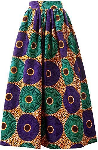 (Women African Traditional Costume Ankara Print Skirt Dashiki Long Skirts (Small,D))