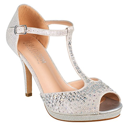 Robin-211 Women's Chic T-Strappy Rhinestone High Heel Wedding Prom Dress Sandal Shoes Silver 7.5 (Ladies Prom Evening Shimmer Shoe)