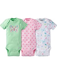 Gerber Baby Girl's 3-Pack Short Sleeve Bodysuit