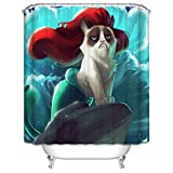 Mermaid Shower Curtain Wimaha Fabric Shower Curtain Water-resistant Mildew Resistant Antibacterial Machine Washable Mermaid Cat Curtain for Bathroom Heavy Duty Decortaion Wave Decor 72x72, Blue Red