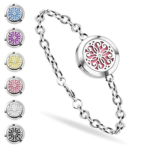 (SS SHOVAN Aromatherapy Bracelet, Essential Oil Diffuser Bracelet Stainless Steel Aromatherapy Locket Bracelets for Women with 6 Color Pads,Girls Women Jewelry Set)
