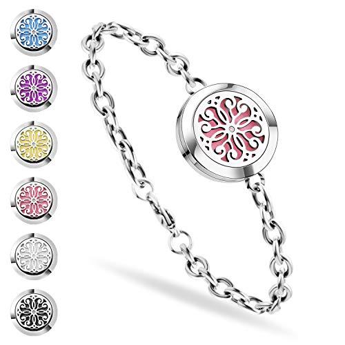Valentine Bracelet Jewelry - SS SHOVAN Aromatherapy Bracelet, Essential Oil Diffuser Bracelet Stainless Steel Aromatherapy Locket Bracelets for Women with 6 Color Pads,Girls Women Jewelry Set