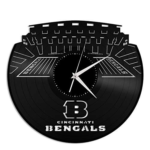VinylShopUS - Cincinnati Bengals Vinyl Wall Clock | Unique Gift for Sports Lovers | Home Room Decoration