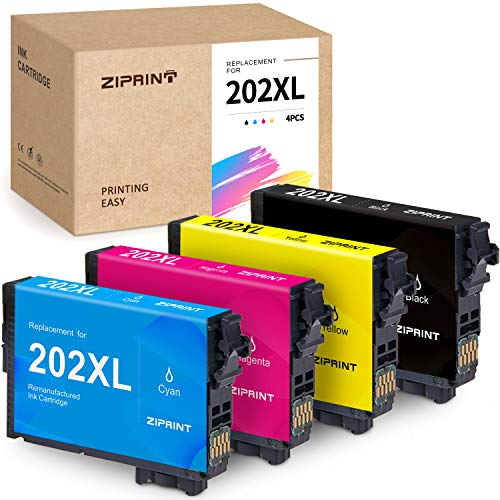 ZIPRINT Remanufactured Ink Cartridge Replacement for Epson 202XL T202XL 202 T202 High Yield Ink for Epson Workforce WF-2860 WF2860 Home XP-5100 XP5100 Printer (Black, Cyan, Magenta, Yellow, 4-Pack)