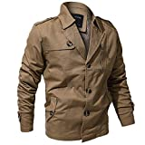 Clearance Deals,WUAI Men's Motorbiker Jackets Casual Slim Fit Multi-pocket Military Clothing Sports Outwear(Khaki,US Size S = Tag M)